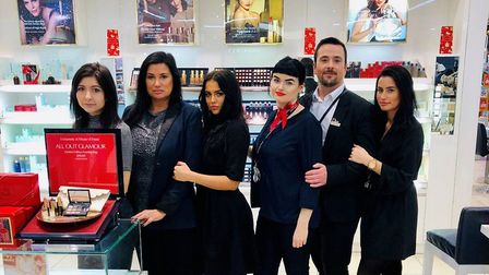 Staff in the beauty department at House of Fraser in Norwich. One of the team, Jane Webb (second fro