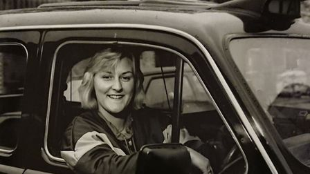 Mayor of Watton Tina Kiddell in her cab in London in 1988 shortly after she got her badge. Picture: