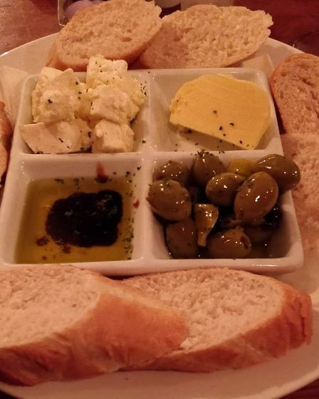Olives, feta and bread platter at the Green Dragon. Picture: Archant