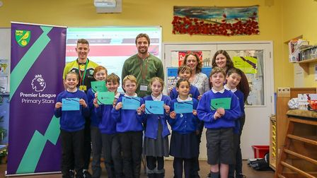 Norwich City's Tim Krul visited Spooner Row Primary School with the Community Sports Foundation for