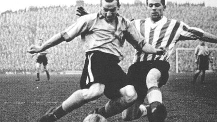 City's all-time top goal-scorer Johnny Gavin, who scored 132 goals for Norwich, couldn't find the ba