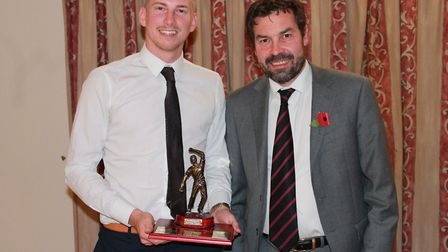 Dereham Jake Anema, the Norfolk Alliance's leading wicket in 2018, with Robert Amey Picture: CECIL A