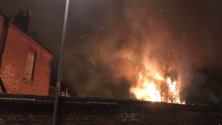 Flames caused severe damage to the old stable behind the Magpie Pub in Norwich. Picture Heidi Secker