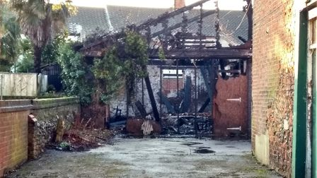 The former stable was badly damaged in the blaze. Pictures: Victoria Pertusa
