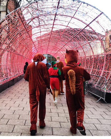 Father Christmas was joined by elves and woodland creatures on his magical journey around Norwich ci