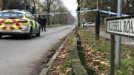 Bluebell Road in Norwich was closed for several hours while police investigated an incident. Picture
