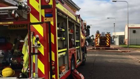 Fire crews at the scene of a suspected expolsion at Gaymers Industrial Estate in Attleborough. Pictu