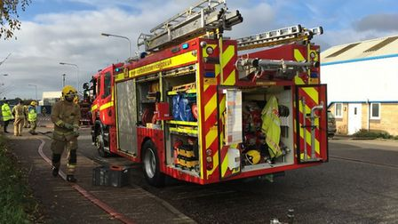 Norfolk Fire and Rescue Service at the scene of a small explosion on the Gaymers Industrial Estate i