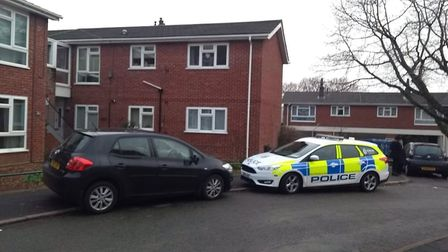 Police at the scene of a stabbing in Godric Place in Norwich. Picture Archant.
