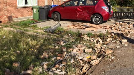 The devastation caused following a crash on Montgomery Avenue in Lowestoft. Picture: Mick Howes