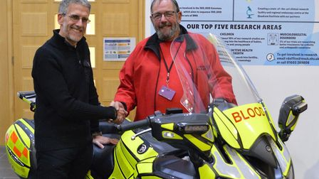 Pictured from left to right, fundraiser Glenn Orford and SERV Norfolk chairman Colin Farrington unve