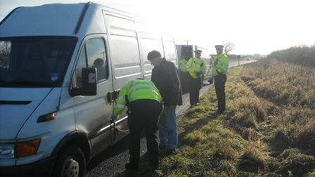 Police officers in action as part of rural crime Operation Randall, which is targeting heating oil t