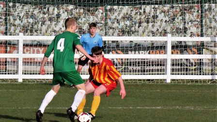Norfolk Under-18s midfielder George Quantrill in action against Isle of Man. Picture: Steve Ames