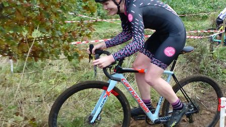 Women's winner Louise Heywood-Mahé (Les Filles) at the Diss CC cyclo-cross at Redgrave Picture: Ferg