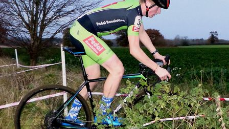 Early leader Connor Rumbles from Fakenham at the Redgrave cyclo-cross Picture: Fergus Muir
