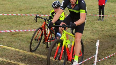 Diss CC Veteran Ian Newby rides up the steps at the Redgrave CX Picture: Fergus Mui)
