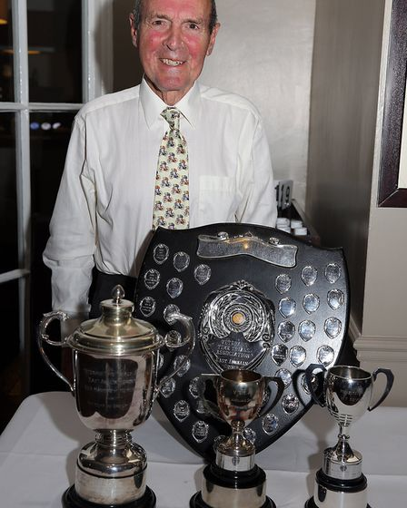 Peter Horsnell, aged 88, with some of his haul of awards at the East Anglian Group Lunch of the VTTA