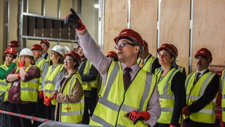 Guests enjoy a tour of Building 60, the new science and engineering facility at the University of Ea