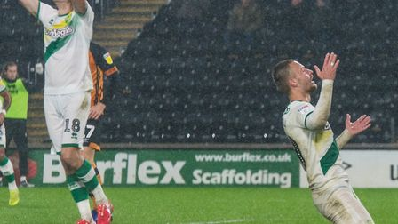 Tom Trybull headed Norwich City's best chance wide at the KCOM Stadium Picture: Matt Wilkinson/Focus
