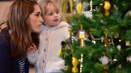 The Wymondham Wynterfest 2016. Grace-May Frost with her mum, Laura, at the Christmas tree exhibition
