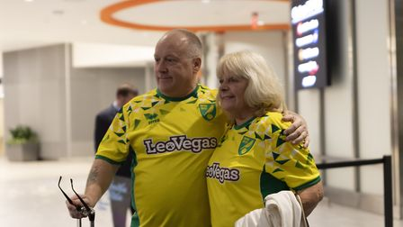 Visit Tampa Bay competition winners Paul Green and Ann Broker were part of Norwich City's touring pa