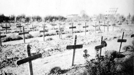The original graves of the 97 Royal Norfolks murdered in cold blood by SS troops after fighting a de