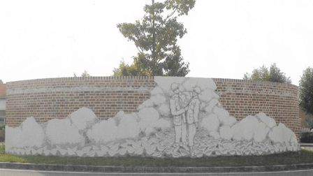 A memorial in France showing the heroic actions of Dereham soldier, private William OCallaghan carry