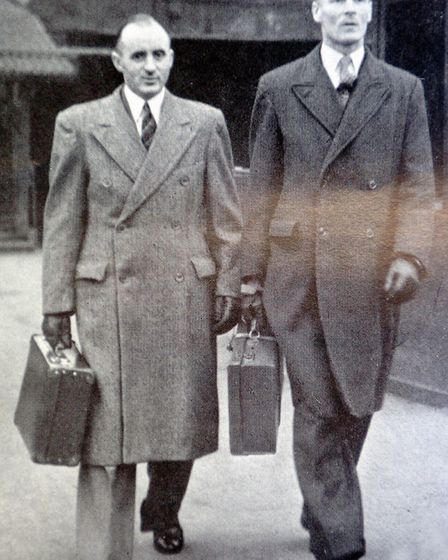 William O'Callaghan and Albert Pooley arriving at the War Crimes Court in Hamburg. Photo: Library