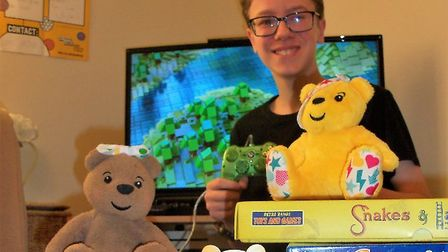 Thirteen-year-old Louis Hedge played games non-stop for six hours for Children in Need. Photo: Hayle