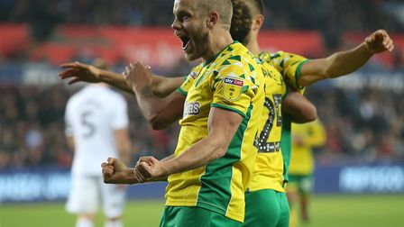 Teemu Pukki celebrates scoring his 10th league goal of the season for the Canaries Picture: Paul Che