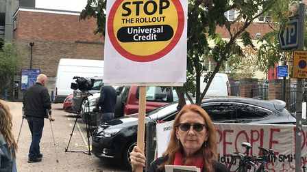 A protest in Norwich against the roll out of Universal Credit. Picture: Victoria Pertusa
