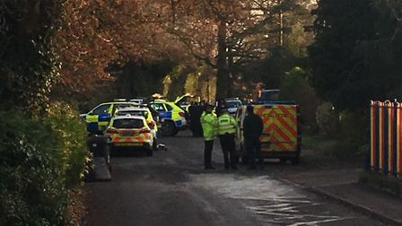 Multiple police cars on the scene in Tivetshall where an incident has closed the primary school. Pic