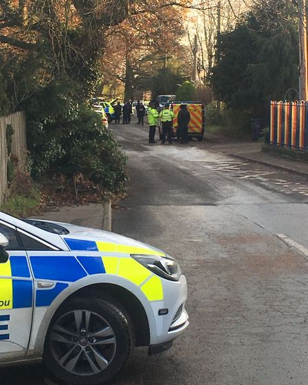Police on the scene in Tivetshall where an incident has closed the primary school. Picture: Staff