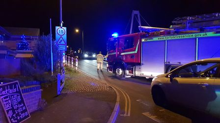 Emergency services were called to a crash on Wroxham Bridge on Friday, December 14. Pic: Scott Rose.