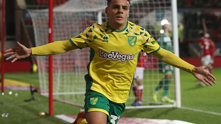 Max Aarons of Norwich celebrates scoring his sides 2nd goal during the Sky Bet Championship match at