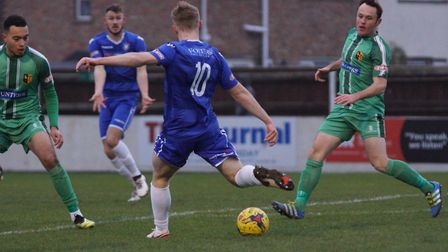 Kieran Higgs fires Lowestoft Town in front against Alvechurch. Picture: Shirley D Whitlow