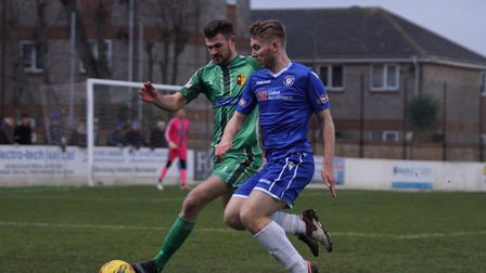 Lowestoft's Kieran Higgs in action against Alvechurch. Picture: Shirley D Whitlow