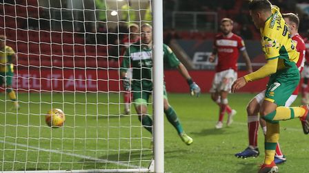 Max Aarons heads Onel Hernandez's driven cross home for Norwich City's late equaliser at Bristol Cit