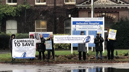 The Campaign to Save Mental Health Services in Norfolk and Suffolk protest outside Hellesdon Hospita