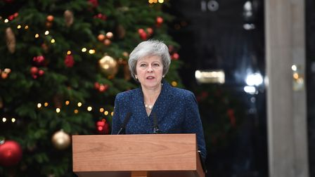 Prime Minister Theresa May makes a statement outside 10 Downing Street, London, after the 1922 Commi