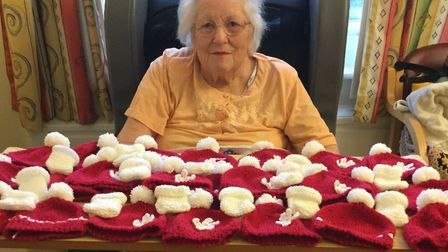 Helen Pretty has knitted more than 200 hats for premature babies at James Paget Hospital. Picture: J
