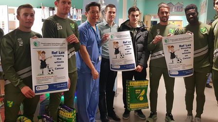 Norwich City stars have backed an oesophageal cancer campaign. Pic: Norfolk and Norwich University H