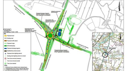 Plans for the roundabout which would replace the dangerous Hempnall crossroads on the A140 near Long