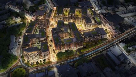 The Anglia Square development from overhead. Pic: Weston Homes.