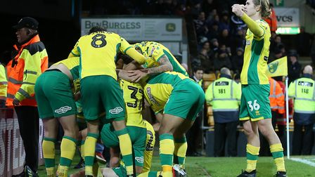 The Norwich City players pile in on another dramatic late winning goal at Carrow Road, in front of t