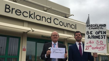 (L-R): Cllr Harry Clarke and Cllr Pablo Dimoglou are calling on Breckland to be more open and democr