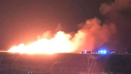 The straw stack fire at Watton Airfield. Picture: Craig Blackwood
