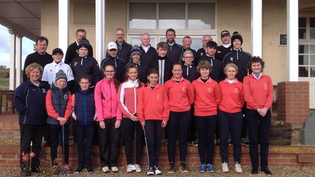 The three teams involved in the annual competition for the Winstanley Trophy competition line up at