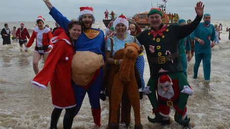 A scene from the Lowestoft Christmas Day Swim in 2017. Photo: Mick Howes.