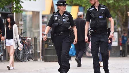 Beat manager Claire Collins and James Bailey patrolling the streets of Norwich. Picture: Nick Butche